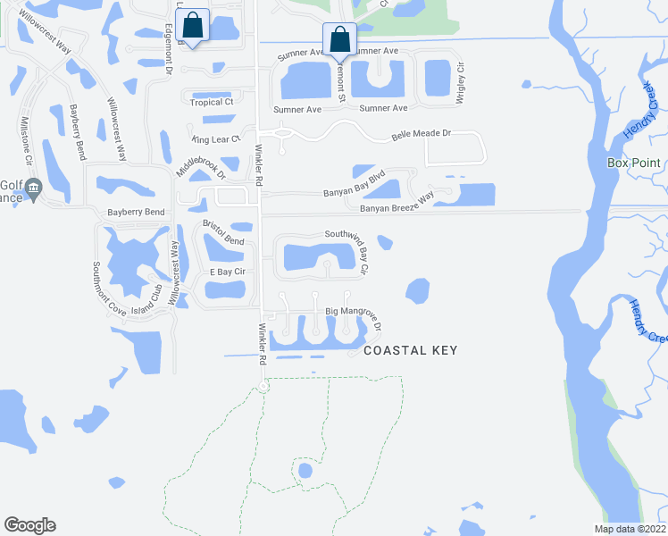map of restaurants, bars, coffee shops, grocery stores, and more near 17697 Southwind Breeze Court in Fort Myers