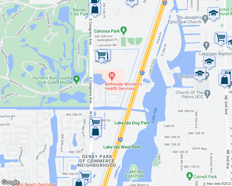 map of restaurants, bars, coffee shops, grocery stores, and more near 177 Lake Monterey Circle in Boynton Beach