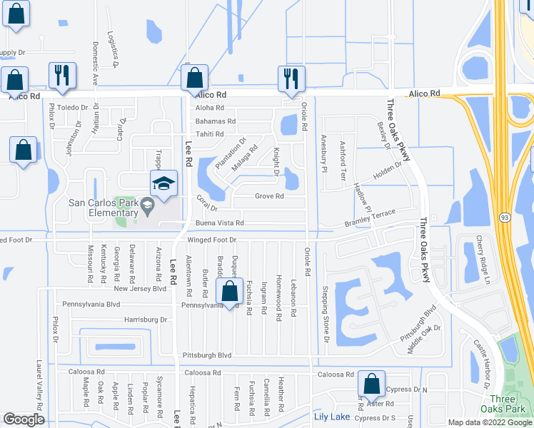 map of restaurants, bars, coffee shops, grocery stores, and more near 8432 Coral Drive in Fort Myers