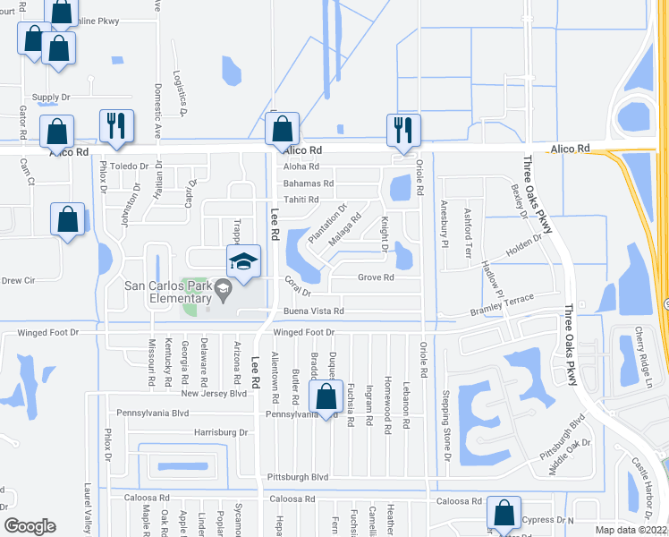 map of restaurants, bars, coffee shops, grocery stores, and more near 17358 Knight Drive in Fort Myers