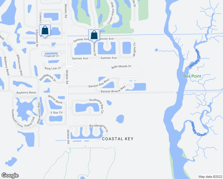 map of restaurants, bars, coffee shops, grocery stores, and more near 8072 Banyan Breeze Way in Fort Myers