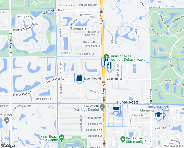 map of restaurants, bars, coffee shops, grocery stores, and more near 12134 Colony Preserve Drive in Boynton Beach