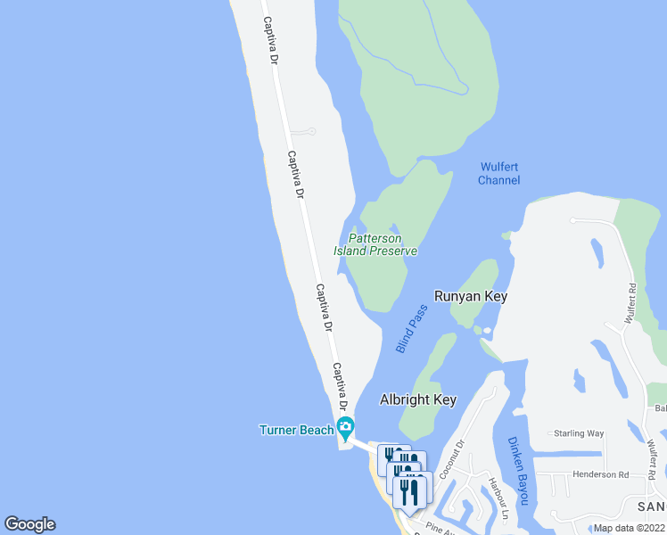 map of restaurants, bars, coffee shops, grocery stores, and more near 16801 Captiva Drive in Captiva