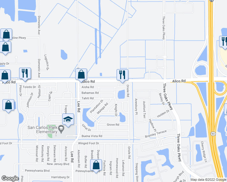 map of restaurants, bars, coffee shops, grocery stores, and more near 8441 Bahamas Road in Fort Myers