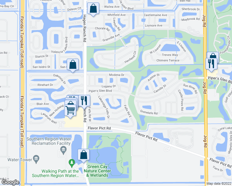map of restaurants, bars, coffee shops, grocery stores, and more near 7068 Falls Road East in Boynton Beach