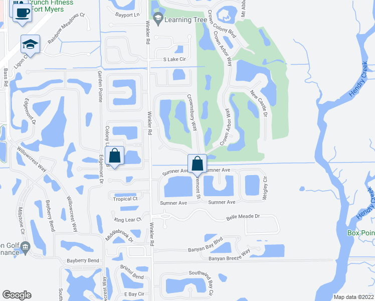 map of restaurants, bars, coffee shops, grocery stores, and more near 16424 Crown Arbor Way in Fort Myers