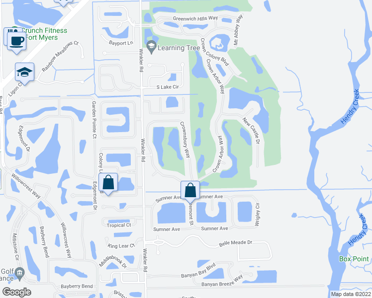 map of restaurants, bars, coffee shops, grocery stores, and more near Crownsbury Way in Fort Myers