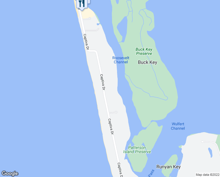 map of restaurants, bars, coffee shops, grocery stores, and more near 16447 Captiva Drive in Captiva
