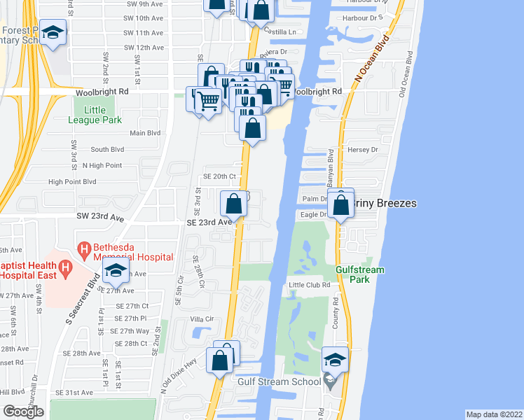 map of restaurants, bars, coffee shops, grocery stores, and more near 2204 Tuscany Way in Boynton Beach