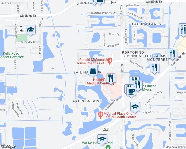 map of restaurants, bars, coffee shops, grocery stores, and more near 16228 Via Solera Circle in Fort Myers