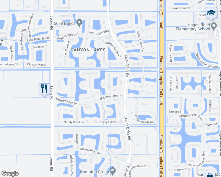 map of restaurants, bars, coffee shops, grocery stores, and more near 11030 Misty Ridge Way in Boynton Beach
