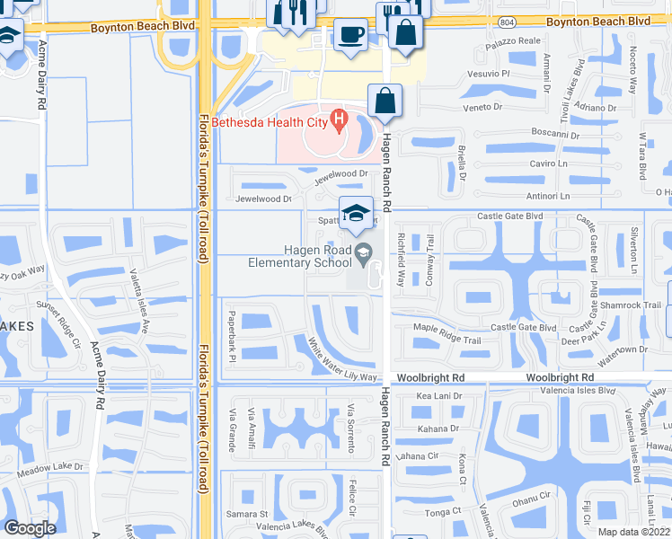 map of restaurants, bars, coffee shops, grocery stores, and more near 7617 Topiary Avenue in Boynton Beach