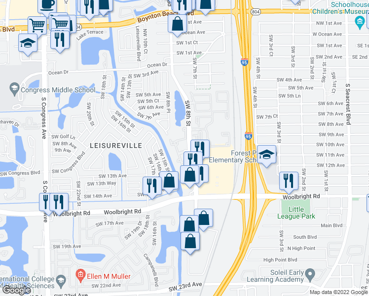 map of restaurants, bars, coffee shops, grocery stores, and more near 1575 Southwest 8th Street in Boynton Beach