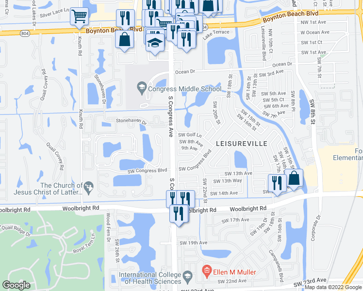 map of restaurants, bars, coffee shops, grocery stores, and more near 2396 Southwest 8th Avenue in Boynton Beach