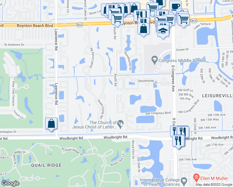 map of restaurants, bars, coffee shops, grocery stores, and more near Belmont Place in Boynton Beach