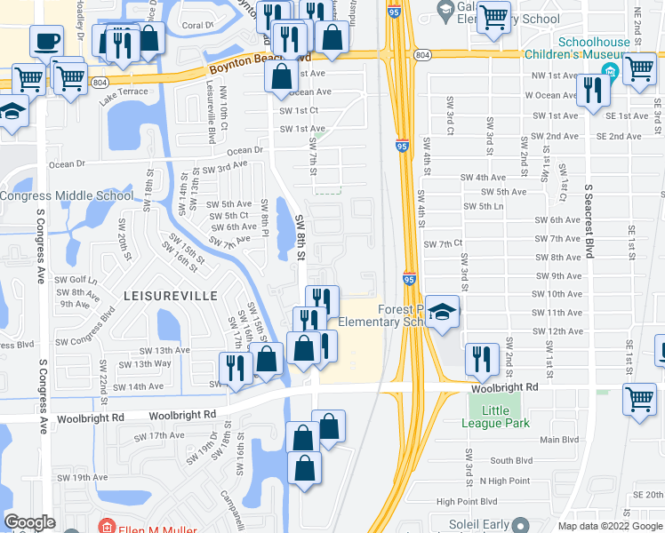 map of restaurants, bars, coffee shops, grocery stores, and more near Asbury Way in Boynton Beach