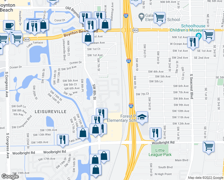 map of restaurants, bars, coffee shops, grocery stores, and more near New Lake Drive in Boynton Beach