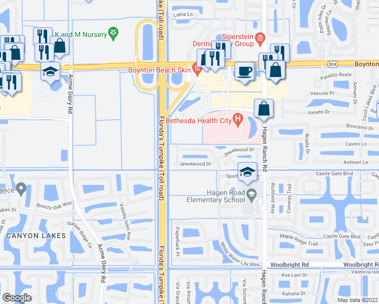map of restaurants, bars, coffee shops, grocery stores, and more near 10167 White Water Lily Way in Boynton Beach