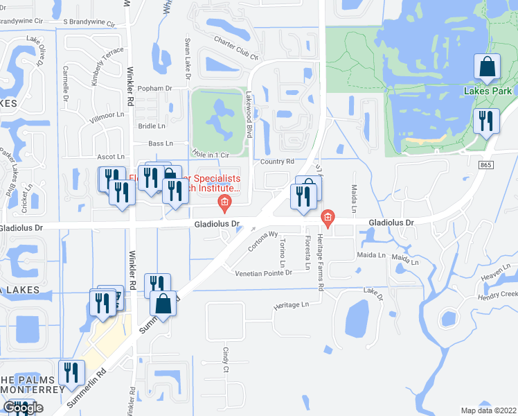 map of restaurants, bars, coffee shops, grocery stores, and more near 8162 Country Road in Fort Myers