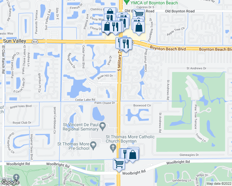 map of restaurants, bars, coffee shops, grocery stores, and more near 5001-5099 Ashley Lake Drive in Boynton Beach