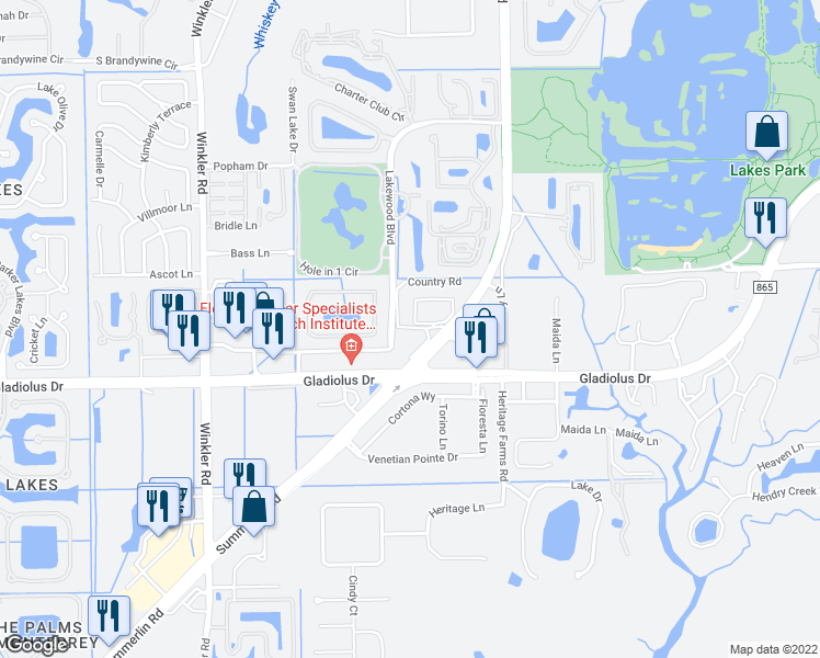 map of restaurants, bars, coffee shops, grocery stores, and more near Summerlin Village Circle in Fort Myers