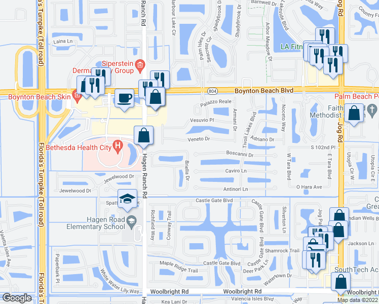 map of restaurants, bars, coffee shops, grocery stores, and more near 7349 Briella Drive in Boynton Beach