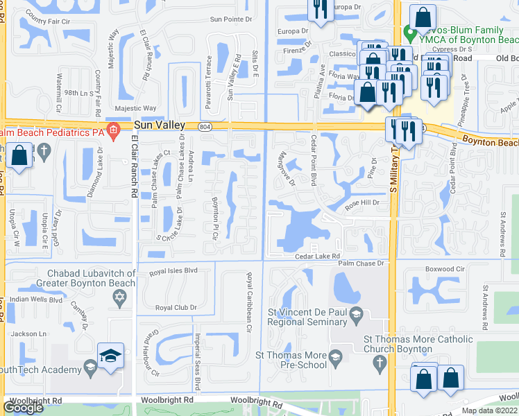 map of restaurants, bars, coffee shops, grocery stores, and more near 10122 Boynton Place Circle in Boynton Beach