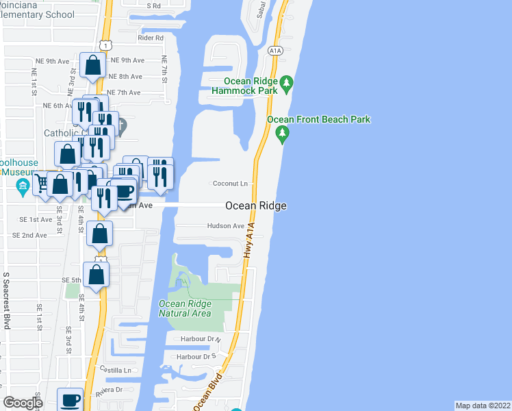 map of restaurants, bars, coffee shops, grocery stores, and more near in Ocean Ridge