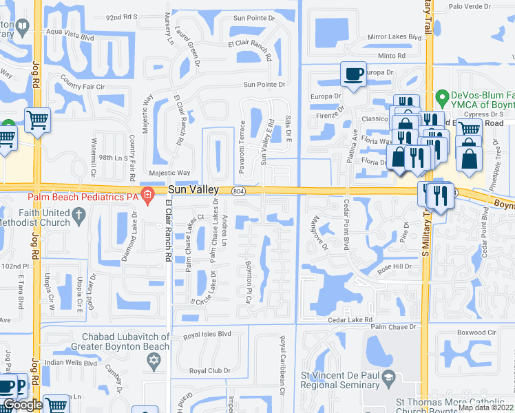 map of restaurants, bars, coffee shops, grocery stores, and more near 10018 Boynton Place Circle in Boynton Beach
