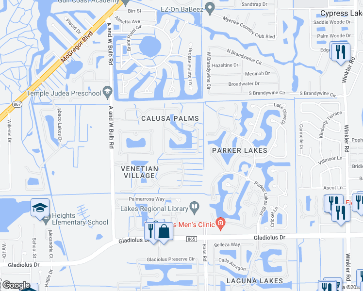map of restaurants, bars, coffee shops, grocery stores, and more near 9519 Lassen Court in Fort Myers