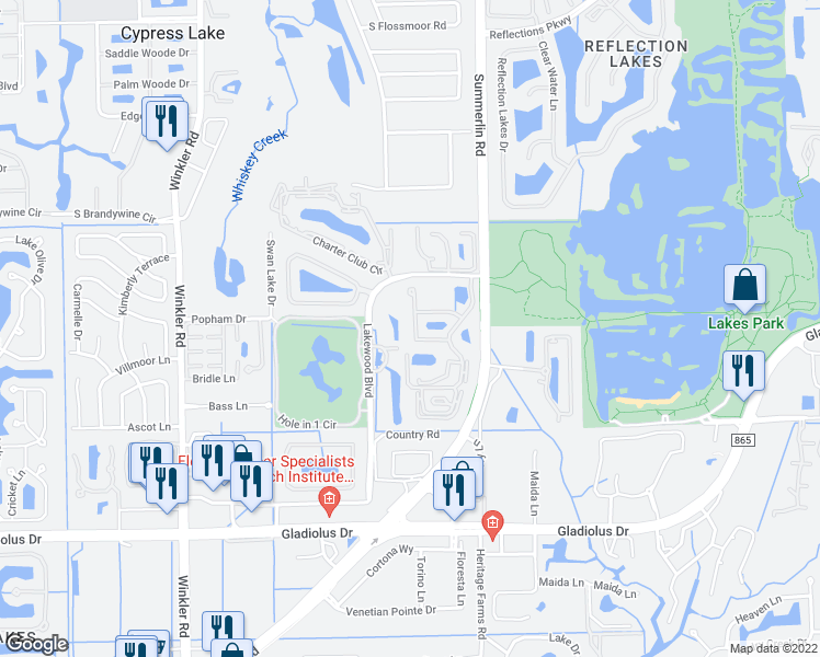 map of restaurants, bars, coffee shops, grocery stores, and more near 14650 Summer Rose Way in Fort Myers