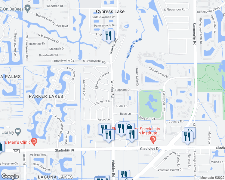 map of restaurants, bars, coffee shops, grocery stores, and more near in Cypress Lake