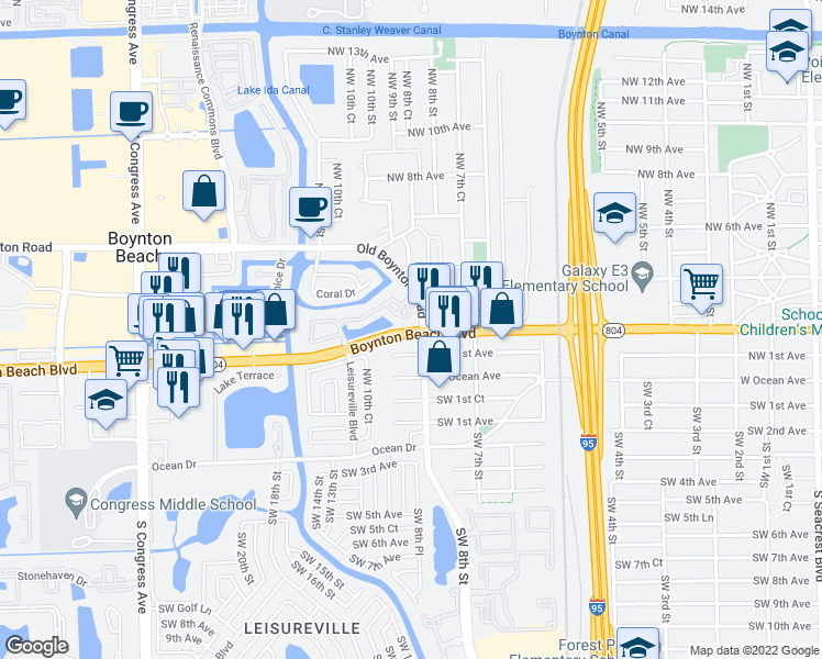 map of restaurants, bars, coffee shops, grocery stores, and more near 805 Boynton Beach Blvd in Boynton Beach