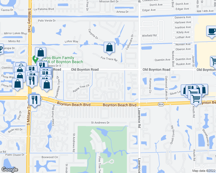 map of restaurants, bars, coffee shops, grocery stores, and more near 9995 Orchid Tree Trail in Boynton Beach