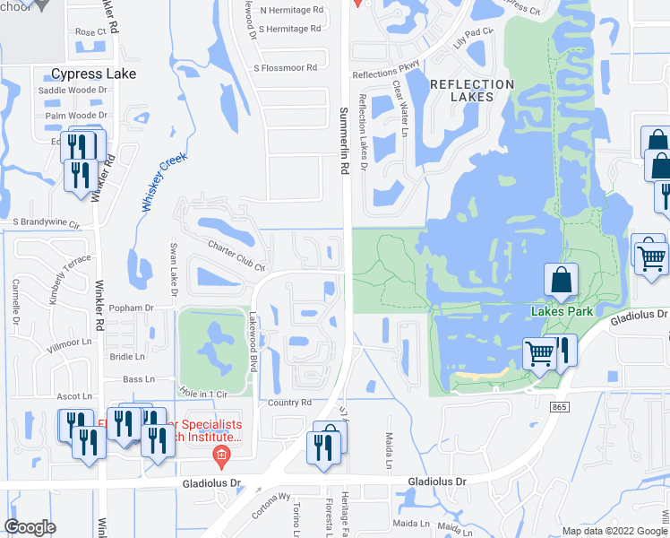 map of restaurants, bars, coffee shops, grocery stores, and more near Summerlin Trace Court in Fort Myers