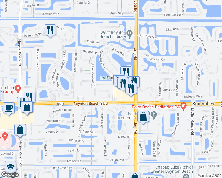 map of restaurants, bars, coffee shops, grocery stores, and more near 9876 Holly Hill Drive in Boynton Beach