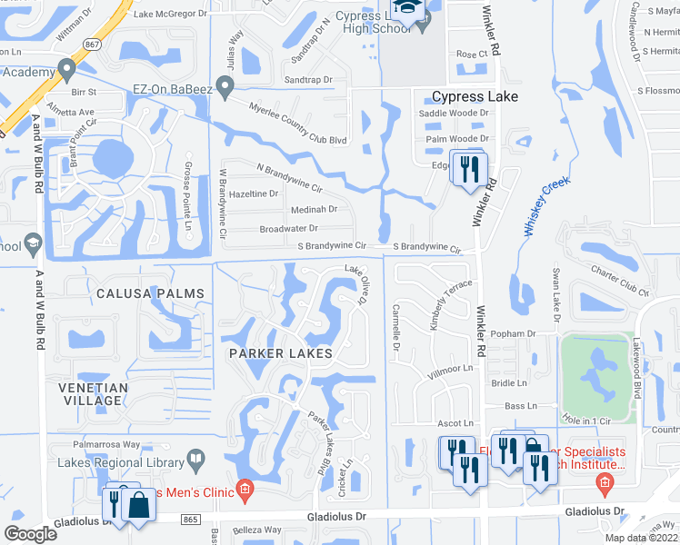map of restaurants, bars, coffee shops, grocery stores, and more near 14811 Lake Olive Drive in Fort Myers