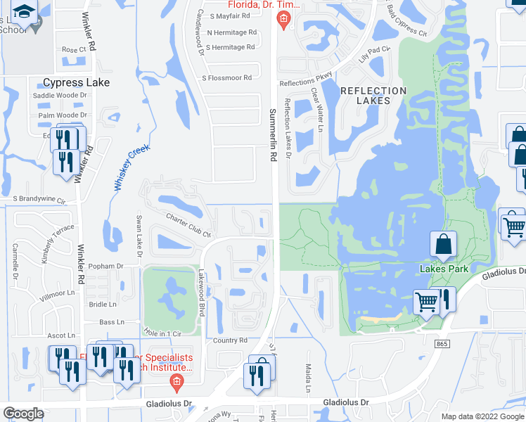 map of restaurants, bars, coffee shops, grocery stores, and more near Summerlin Trace Court in Cypress Lake