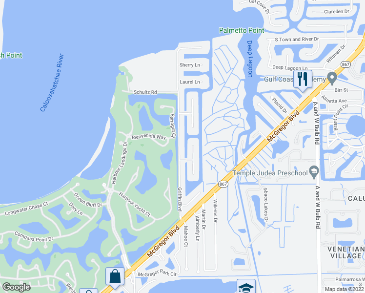 map of restaurants, bars, coffee shops, grocery stores, and more near 6758 Griffin Boulevard in Fort Myers