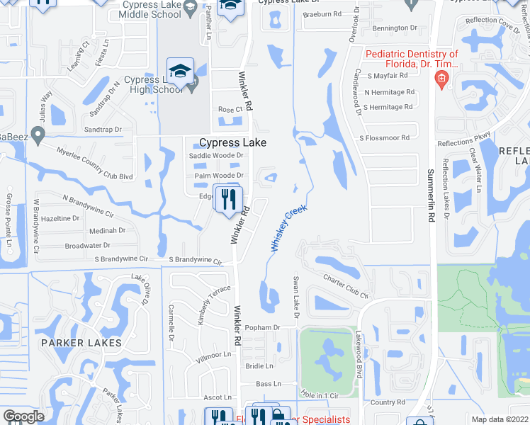 map of restaurants, bars, coffee shops, grocery stores, and more near 14225 Patty Berg Drive in Fort Myers
