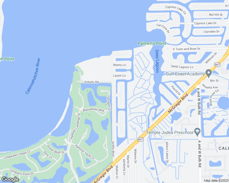 map of restaurants, bars, coffee shops, grocery stores, and more near 6584 Griffin Boulevard in Fort Myers