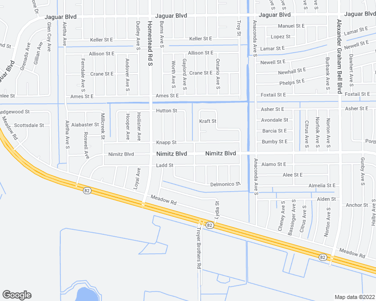 map of restaurants, bars, coffee shops, grocery stores, and more near 637 Nimitz Boulevard in Lehigh Acres