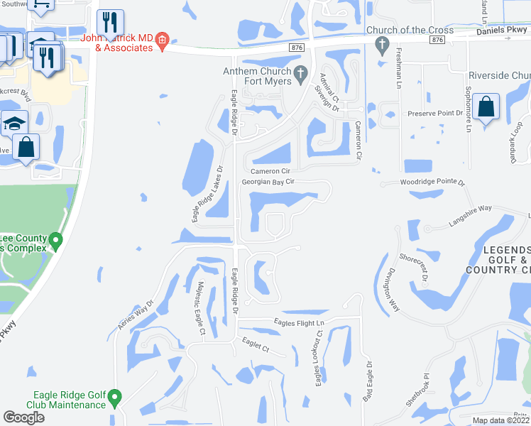 map of restaurants, bars, coffee shops, grocery stores, and more near 14179 Georgian Circle in Fort Myers