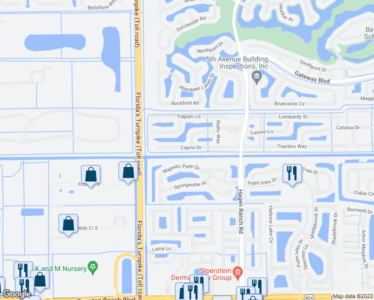 map of restaurants, bars, coffee shops, grocery stores, and more near 7704 Caprio Drive in Boynton Beach