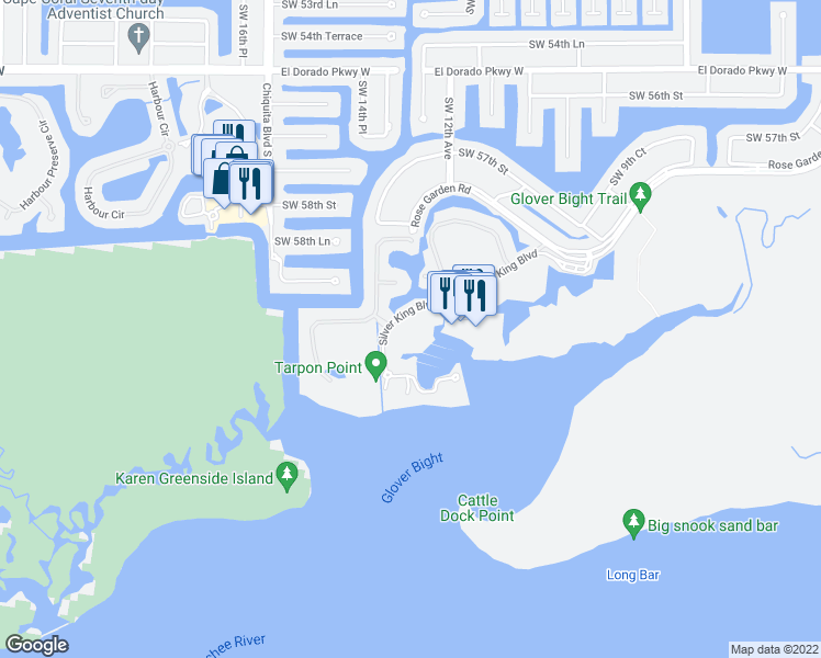 map of restaurants, bars, coffee shops, grocery stores, and more near 6021 Silver King Boulevard in Cape Coral