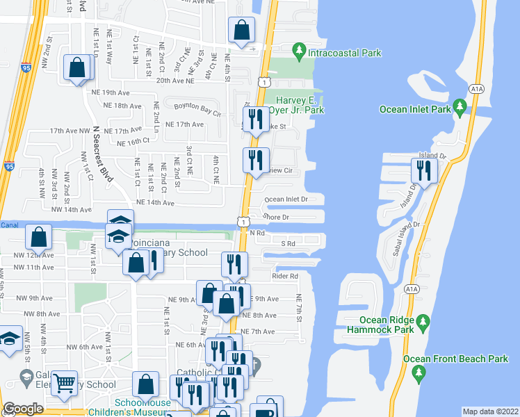 map of restaurants, bars, coffee shops, grocery stores, and more near 1500 Ocean Inlet Drive in Boynton Beach