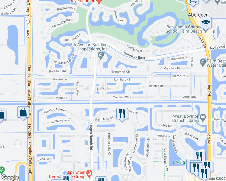 map of restaurants, bars, coffee shops, grocery stores, and more near 7524 Treviso Lane in Boynton Beach