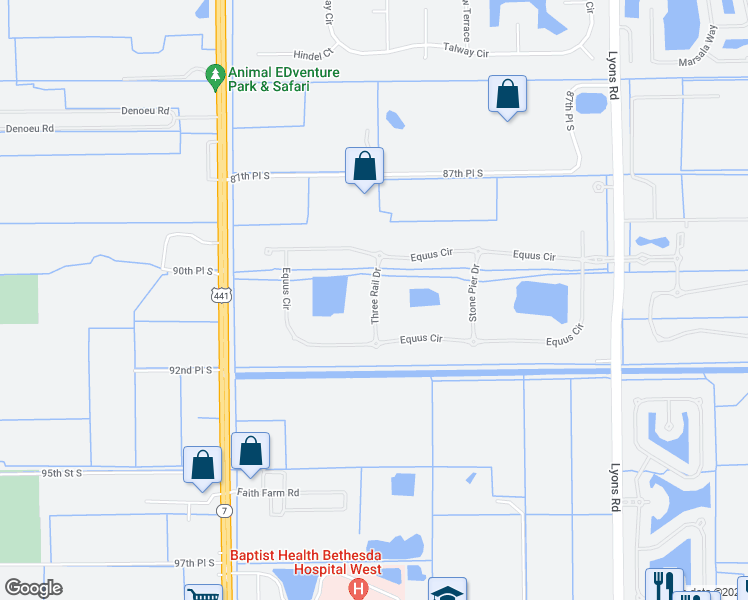 map of restaurants, bars, coffee shops, grocery stores, and more near 9014 3 Rail Drive in Boynton Beach