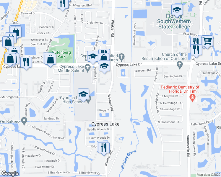 map of restaurants, bars, coffee shops, grocery stores, and more near 6731 Winkler Road in Fort Myers