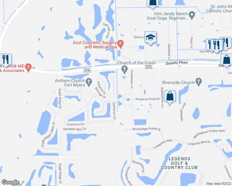 map of restaurants, bars, coffee shops, grocery stores, and more near 13625 Cherry Tree Court in Fort Myers